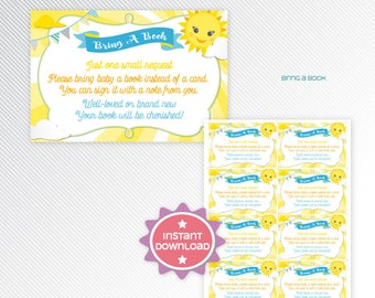 You are my sunshine book request card - baby's library - bring a book baby shower printable - INSTANT DOWNLOAD