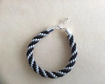 Black and grey kumihimo bracelet