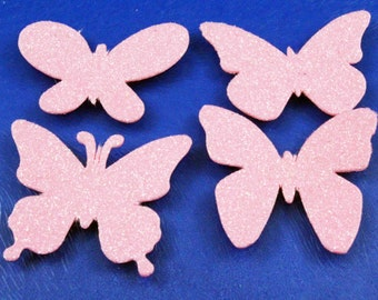 28 Pink Card Die Cut Glitter Butterfly Embellishments