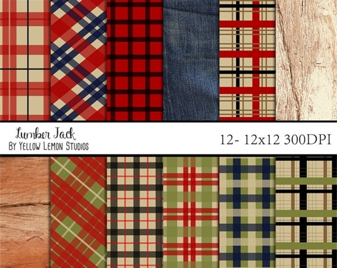 "Plaid digital paper ""LUMBER JACK"" hunter, fishing, tartan, plaid, dad, father, camping, wood, denim, red, green, blue, cream, black, outdoor"