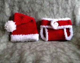 0-3 Month Santa Hat & Diaper Cover Set