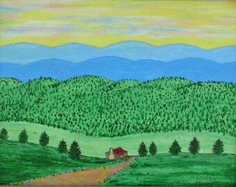 SMOKY MOUNTAIN VALLEY - Original Acrylic Painting framed 18x15  No. 708