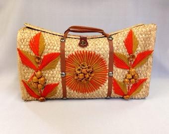 Vintage Straw Tote Bag Beach Bag Mexico