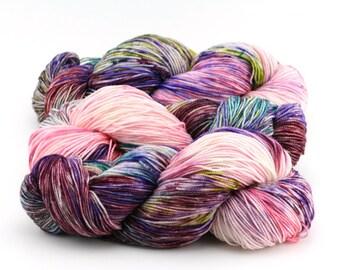 "Hand dyed yarn, 100% Super Wash Merino, fingering weight,  400 yards, ""Conversation Hearts"""