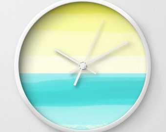 Wall Clock Abstract Turquoise Teal Aqua Yellow Modern Wall Decor Contemporary Home Decor Abstract Art