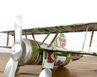 High Life Beer Can Airplane Vintage Folk Art Hand Made Craft