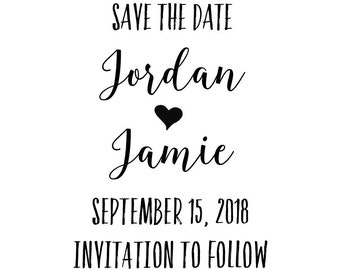 """Custom SAVE the DATE STAMP - personalized rubber stamp, wedding favors stamp, wedding stamp, invitations stamp, card stamp 1.5""""x2"""" (cstd87)"""