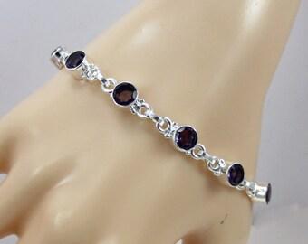 Amethyst Bracelet , Amethyst Silver Jewelry , Amethyst Gemstone Bracelet, February Birthstone, Gift for Her, Mother's Day Gift