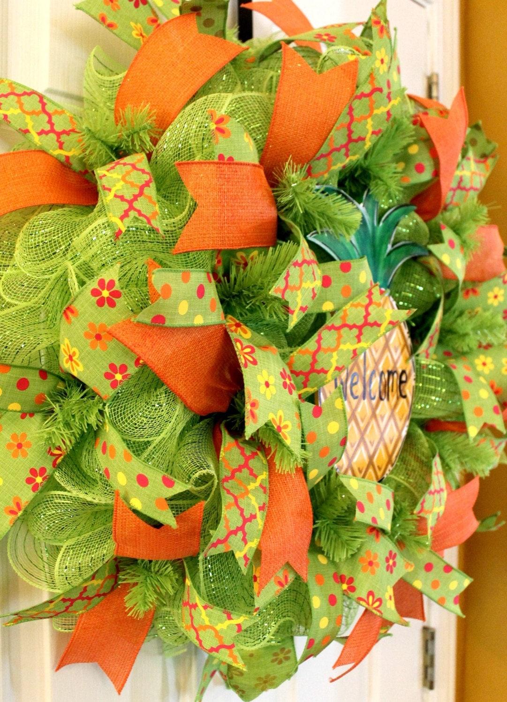 Deco Mesh Summer Wreath With Pineapple By Wrufflewreathsbylana