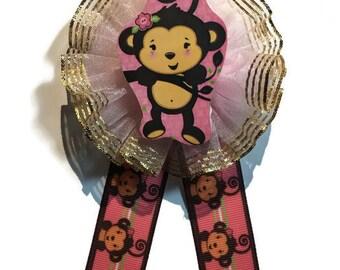 Baby Shower/ Pins/ Girly Monkey Theme/ Pink Pin/ Set of 12