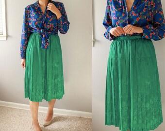 Vintage Green Midi Skirt/ Green Maxi Skirt/ Skirt/ Green Skirt/ Elastic Waist Skirt/ Midi Skirt/ Short Skirt