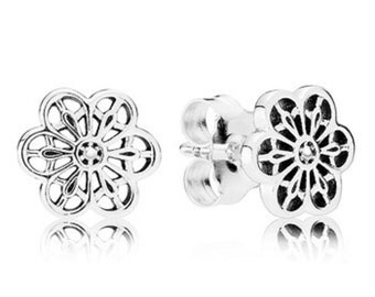 100% 925 Sterling Silver  Floral Daisy Lace Earrings