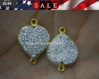 September SALE === Silver druzy Heart Conenctor - Per Piece