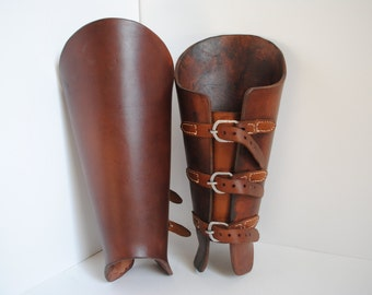 Buckled Leather Greaves