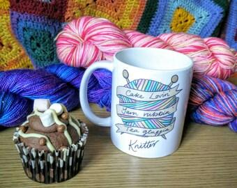 Rockamolly mug: cake lovin', yarn rubbin', tea glugging knitter!