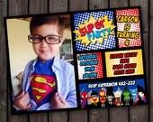 superhero invitation, fast customize, custom picture invitation, superhero birthday customized wording invitation, superhero party invite