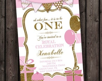 pink and gold stripes first birthday balloon invitation, pink stripes birthday invitation, royal first birthday customized, pendant banner