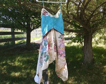 Pink Sunshine Shabby Funky ragdoll upcycled patchwork floral rustic Boho altered Clothing dress top tunic artsy asymmetric patchwork
