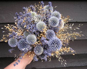 Rustic Dried Light Blue Wedding Bouquet, Bridal Dried Flowers, Bridesmaids Field Bouquets, Lavender and Blue Globe Thistle Bridal Bouquet