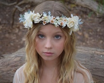 Ivory, Peach & Grayed Jade Flower Crown - parchment roses, delphinium and rose buds with lambs ear and dusty miller - photo prop
