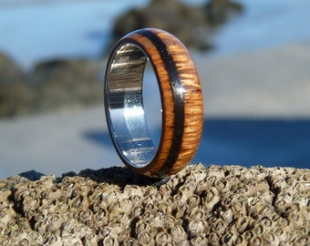 lacewood,carbon and stainless steel ring