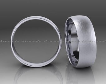 White Gold Wedding Band His Or Hers 14k White Solid Gold Wedding Ring 6.50mm Wide Brushed Finish