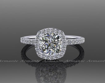 Forever One Moissanite, Platinum Diamond Halo Engagement Ring, Platinum Wedding Ring, Charles Colvard Cushion Colorless Forever One, RE54FO