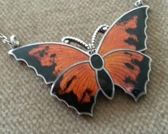 Vintage Sterling Enamel Butterfly Necklace, Sterling Guilloche Enamel Butterfly