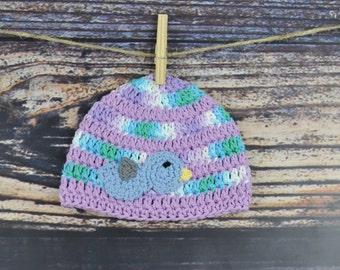 Bird Baby Hat - Purple, Blue