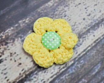 Polka Dot Hair Clip - Flower - Yellow and Green