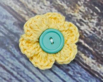 Hair Clip- Flower Hair Accessory- Yellow and Blue