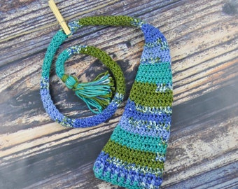 Crochet Baby Hat - Blue, Green, and White - Elf - Baby Accessories