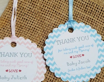 "Personalized Favor Tags 2.5"", Baby Girl or Baby boy, nurse tags, Thank You tags, Favor tags, Gift tags,  delivery thank you tag"