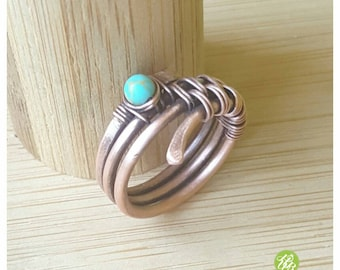 Band ring turquoise, wire wrapped ring, turquoise ring, copper ring, wire ring, woven ring, blue stone ring, turquoise jewelry