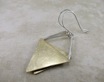 Brass Earrings ~ Geometric Earrings ~ Silver Earrings ~ Dangle Earrings ~ Mixed Metal Earrings ~ Minimalist Earrings ~ Triangle Earrings
