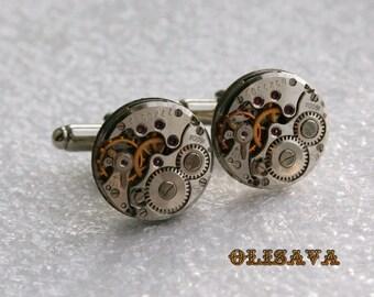 SALE...Watch Movement Cufflinks  ,  Steampunk Cufflinks . Steampunk jewelry. Vintage Clockwork Watch Movement Cuff Links