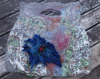 Hand dyed merino and printed silk felted bag with silk and merino felted flower.