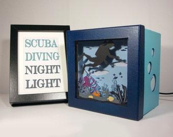 Ocean theme night light, scuba diving nightlight, ocean shadow box, home decor, underwater decor, ocean gift, ocean decor, scuba diving gift