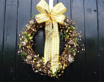 Easter wreath, Spring wreath, Yellow and white ribbon, Berry wreath, vine wreaath, natural wreath, egg wreath, real egg wreath