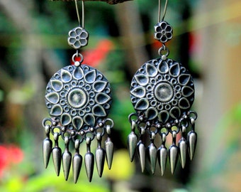 Sterling silver oxidized, light weight  antique finish tribal earring