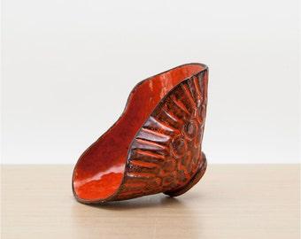 Vintage Orange Black Mid Century Art Pottery, Orange Black Pottery, Small Bowl Pottery, West German, Italian Pottery, Mid Century Decor