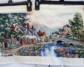 Cross Stitch Completed Cottages by a River