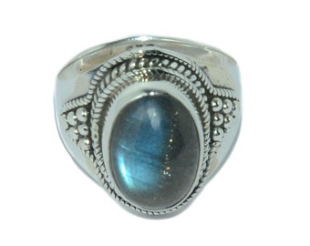 Natural Grey Labradorite 925 Sterling Silver Victorian Style Ring Jewelry R041