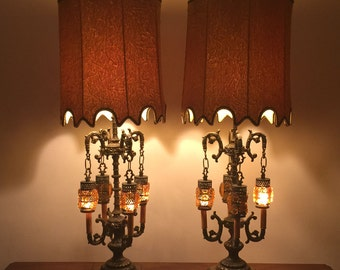 Pair 1960s Crushed Velvet Gold glass brass lamps,1970s retro lamps, pair hippie lamps,psychedelic lamps,Velvet lampshades,Mid Century lamps