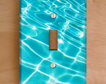 Pool Ripples Vinyl Light Switch Cover, Outlet Cover, Wallplate, Pool, Nautical, Tropical Wallplate, Beach Decor, Aqua Decor, Vinyl Stickers