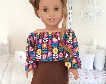 18 inch doll skirt and peasant blouse