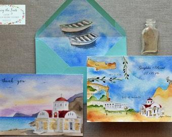 Wedding Invitation Suite - Custom Map - Greek Wedding - Greece Wedding - Custom Save the Dates - Custom Thank You Cards
