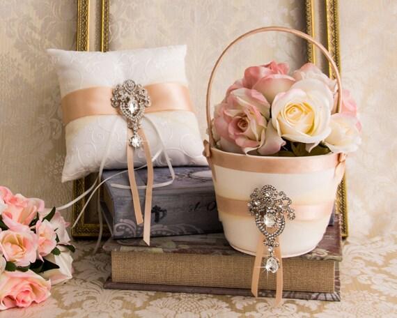 Blush Ring Bearer Pillow Flower Girl Basket Rhinestone Wedding Basket
