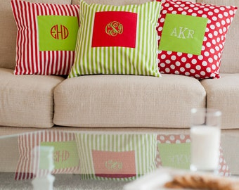 Monogrammed Christmas Pillow Covers