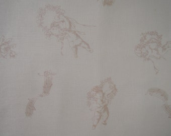 "Fat Quarter of  Yuwa Victorian Pink Cherubs Shabby Chic Fabric on Creamy Background.. Approx. 22"" x 18"" Made in Japan"